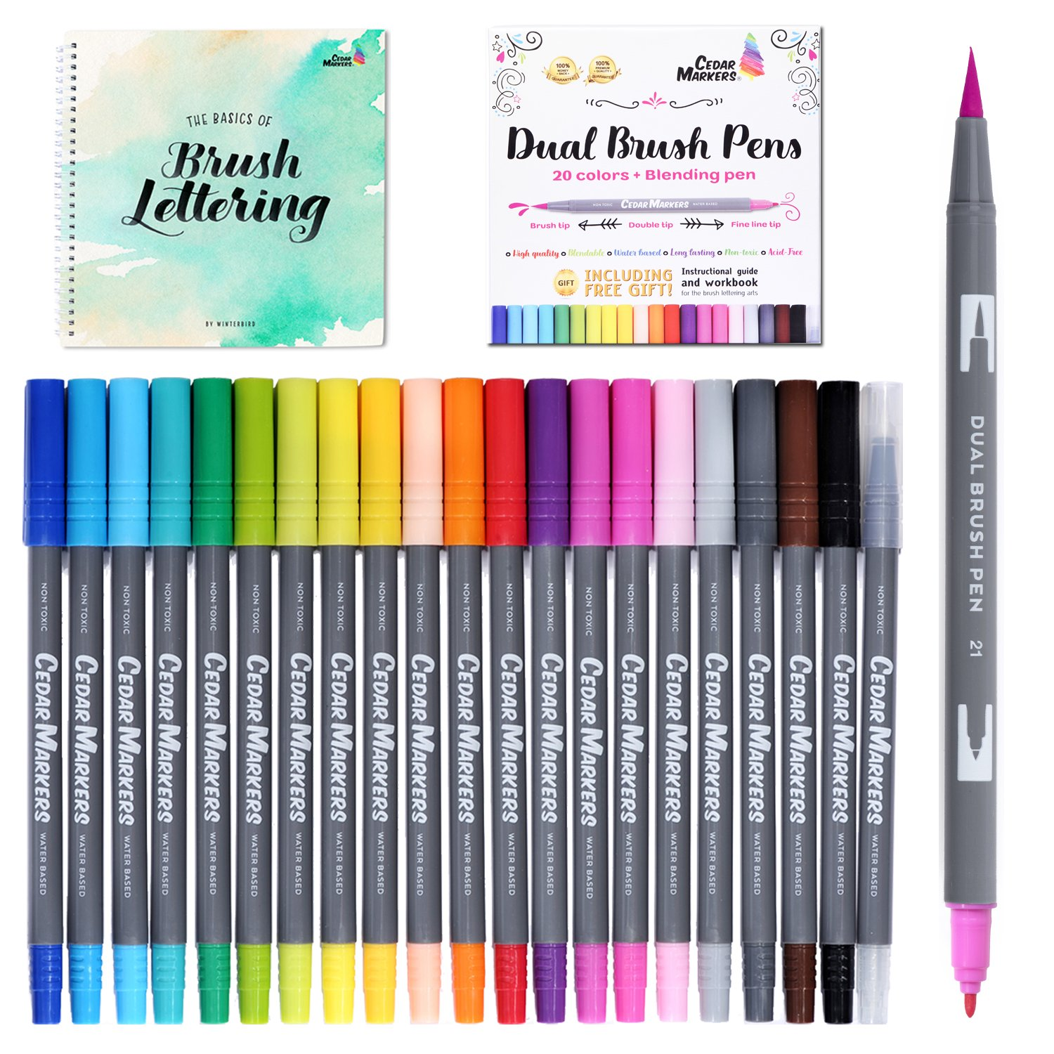 Cedar Markers Dual Brush Pens. 21 Calligraphy Pen Set with Free Hand Lettering Guide Book. Fine Liner and Brush Tip Markers. Colored Pens, Art Pens for Adult Coloring Book and Bullet Journal. (21 XL)