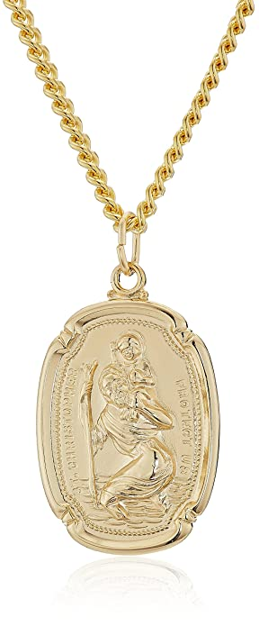 da9b084086a Image Unavailable. Image not available for. Color: Men's 14k Gold Filled  Rectangular Saint Christopher Medal with Gold Plated Stainless Steel Chain  Pendant ...