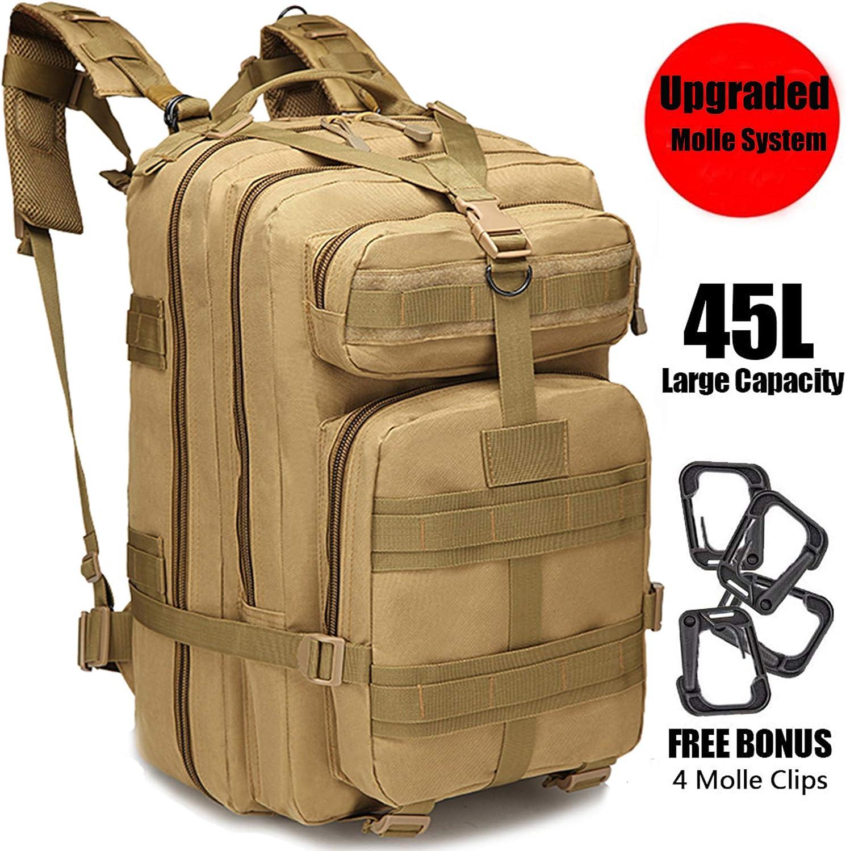 GNEGNI 45L Mochila Táctica de Asalto Militar Resistente al Agua Mochila Molle para Trekking Camping Senderismo Viajar