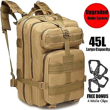 GNEGNI 45L Mochila Táctica de Asalto Militar Resistente al Agua Mochila Molle para Trekking Camping Senderismo Viajar(Caqui): Amazon.es: Deportes y aire libre