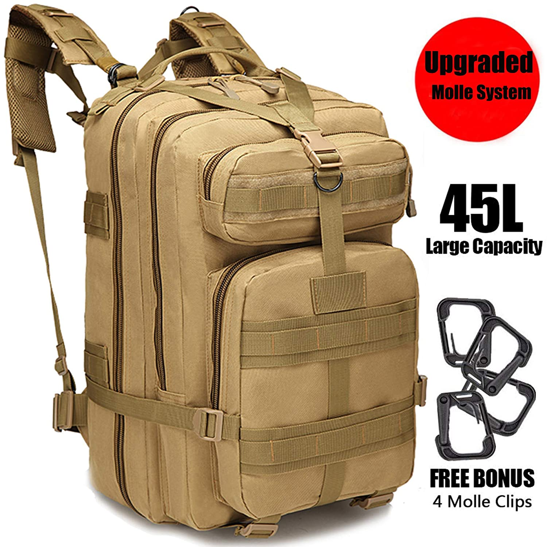 GNEGNI 45L Mochila Táctica de Asalto Militar Resistente al Agua Mochila Molle para Trekking Camping Senderismo