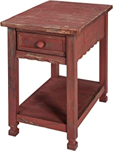Rustic Cottage Chairside End Table with 1 Drawer and 1 Shelf, Red Antique