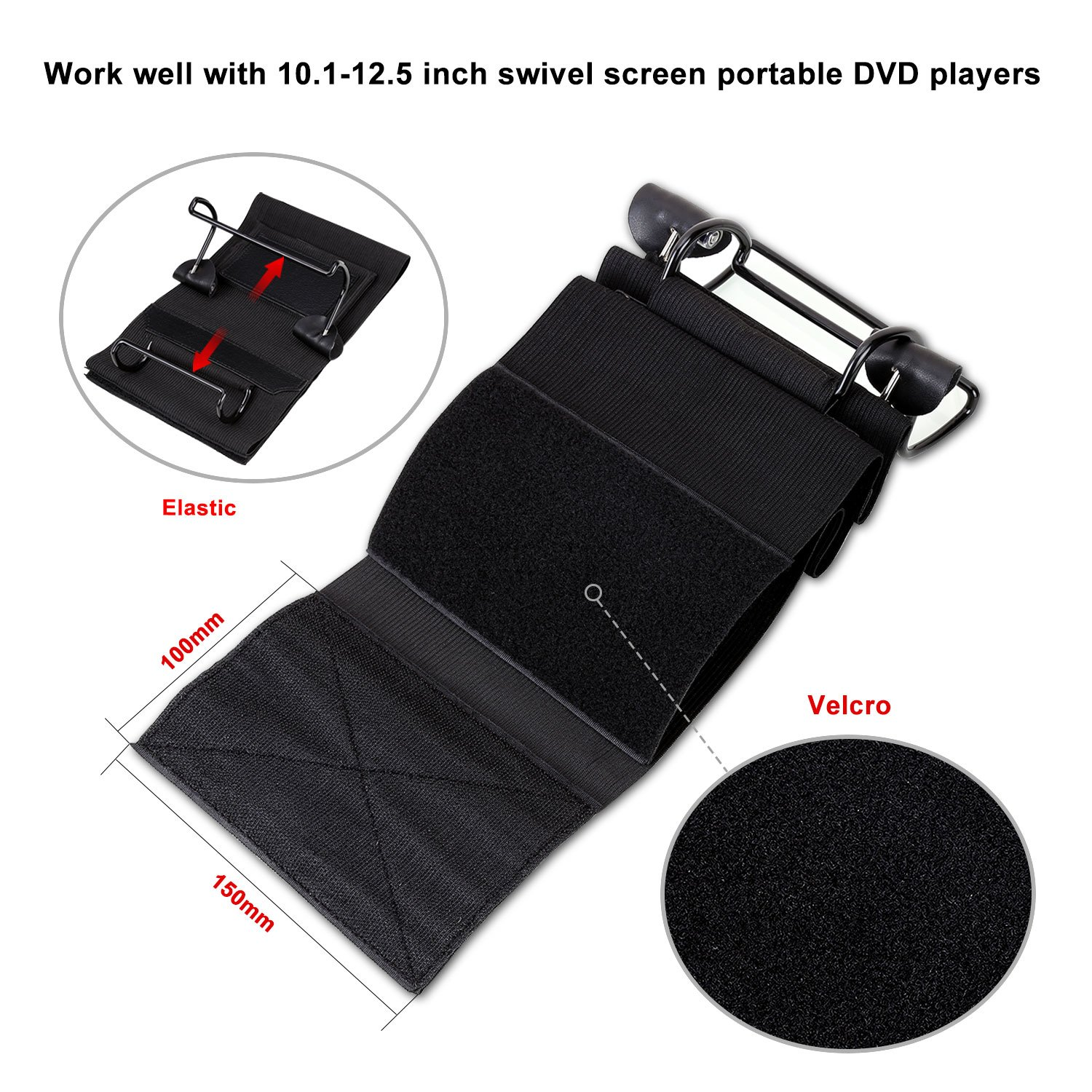 CUTRIP Car Headrest Mount Holder for CUTRIP 10.1 inch Portable Blu-ray Player and Fit for 10.1-12.5 inch Swivel Screen Portable DVD Players (DVD Player Thickness Requires about 35-42MM) by CUtrip (Image #3)