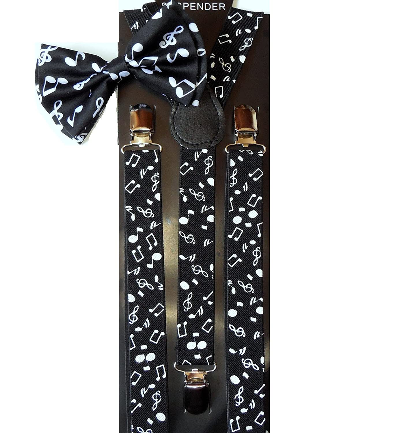 Unisex Awesome Clip-on Braces MUSIC NOTES Print Bowtie and Matching Suspenders Set - Adjustable