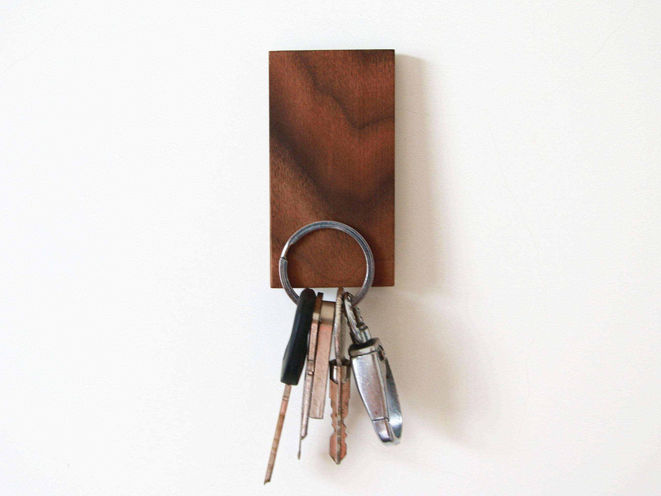Walden Theory™ Minimalistic Magnetic Wooden Key Holder, Fridge Magnet, Key Hook Organizer, Key Rack, Modern Chic Stylish Original Design, Handcrafted, Key Ring Included (Slope) by WaldenTheory