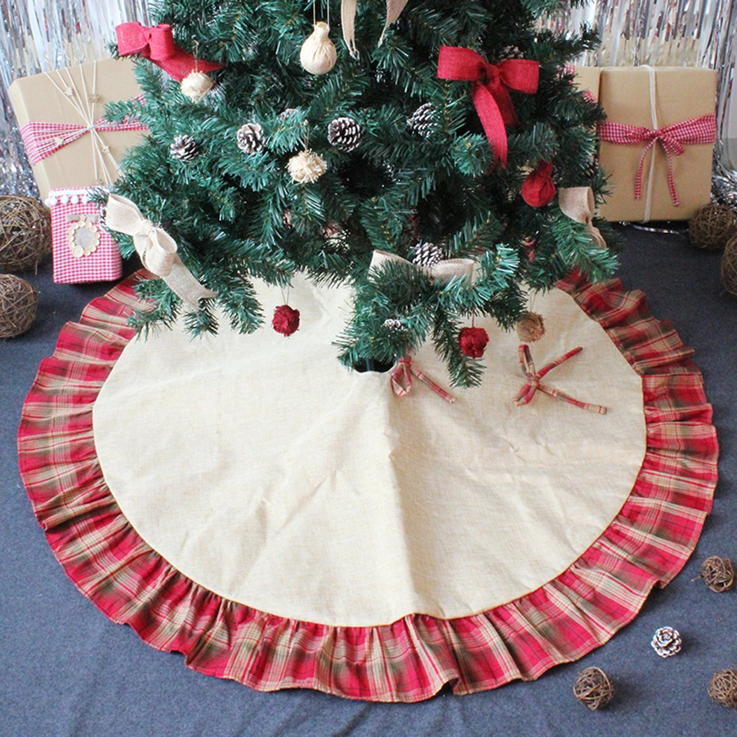 Faylapa Christmas Tree Skirts,Plaid Red Ruffle Edge,48inch Burlap Tree Skirts Mat Christmas Decoration