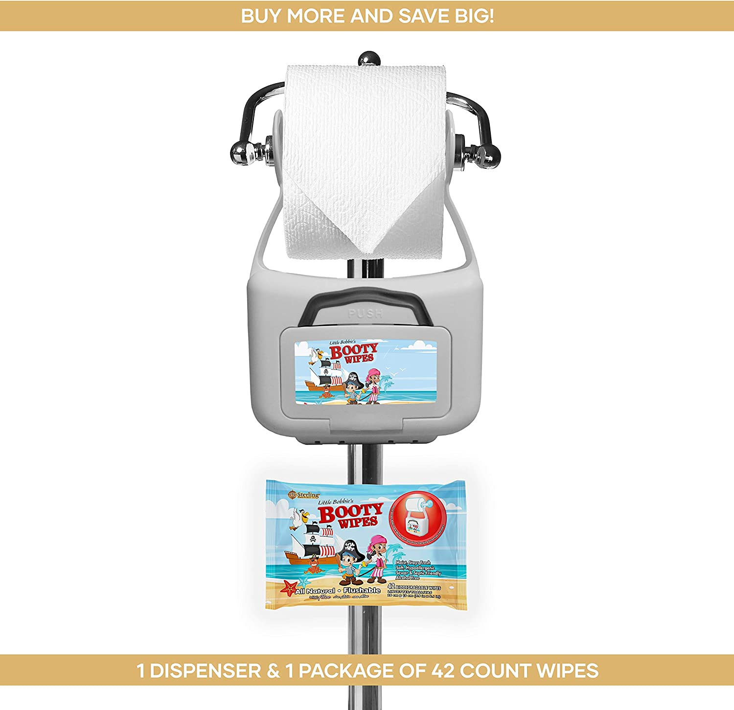 Little Bobbie/'s Booty Wipes Refillable Hanging Flushable Wipes Dispenser /& 1 42ct Flushable All Natural and Biodegradable Refill Wipes Pack