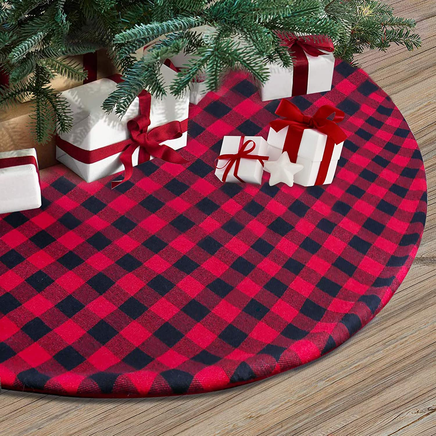 Trooer 48 Inch Christmas Tree Skirt Black and Red Buffalo Plaid Tree Skirt Christmas Decorations Double Layers Tree Skirt Ornaments for Xmas Holiday Party