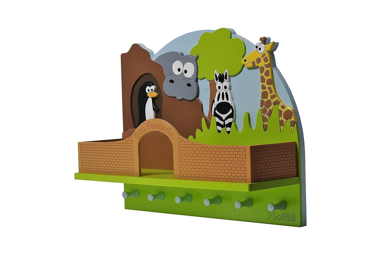 Flophi Kindergarderobe mit M/ützenablage Motiv Zoo