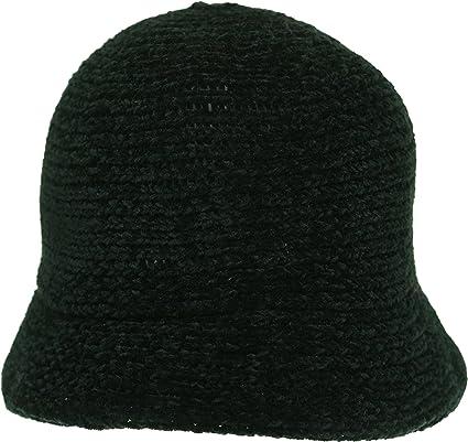 BRAND NEW LADIES BLACK WOOL KNITTED WINTER CLOCHE STYLE HAT JASMINE