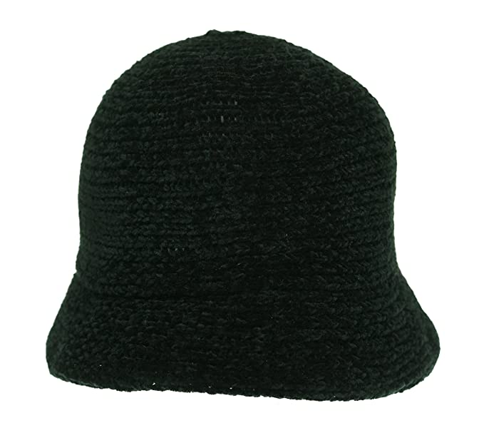 d536fb85b8c Image Unavailable. Image not available for. Color  August Hat Womens  Chenille Crochet Cloche Hat Black ...