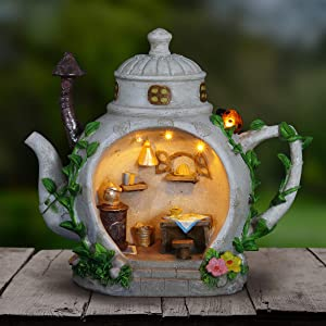 """Exhart Fairy Teapot Kitchen Garden Statue - Miniature Teapot House Solar Resin Statue in Hand-Painted Colors - Whimsical Teapot Home Decor w/Solar Accent Light for a Lovely Fairy Garden, 6"""" x 9"""""""