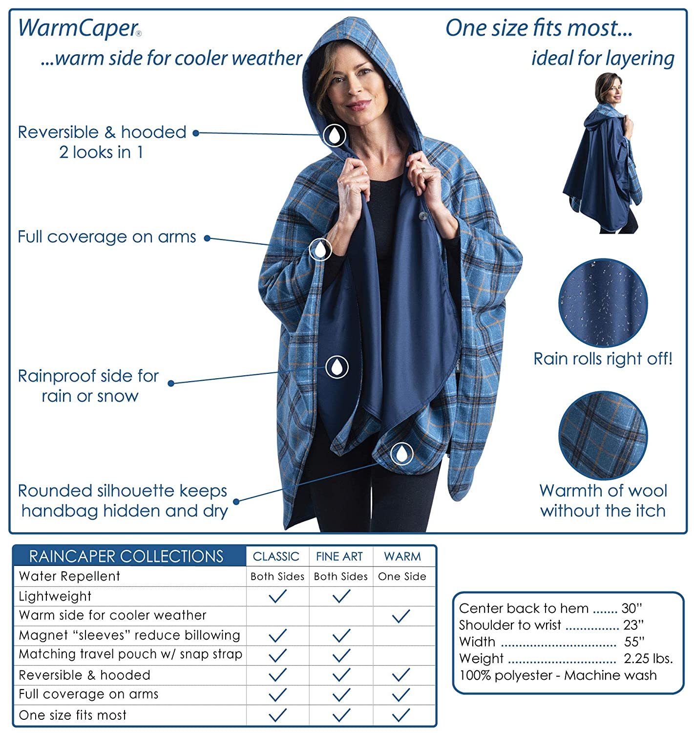 117d7b81c WarmCaper - Warm Rain Poncho for Women with Hood - Soft & Rainproof (Choose  Your Color)