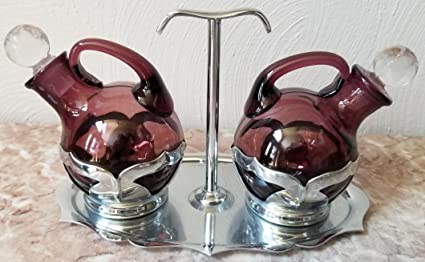 Amazon Com Oil Vinegar Cruet Set Cambridge Amethyst Glass Farber Bros Ny Vintage Everything Else