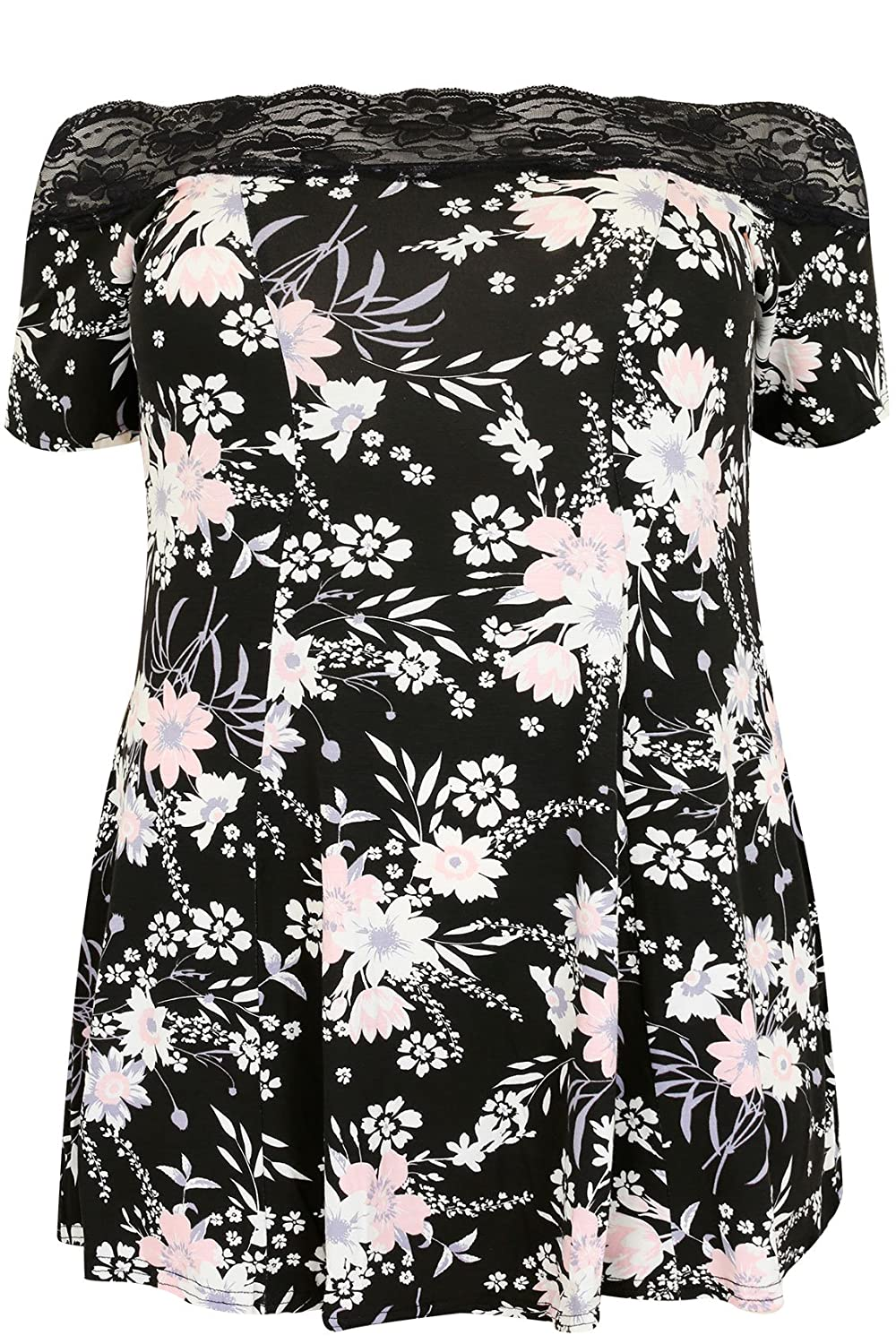 Yoursclothing Plus Size Womens Floral Lace Bardot Top With Short Sleeves