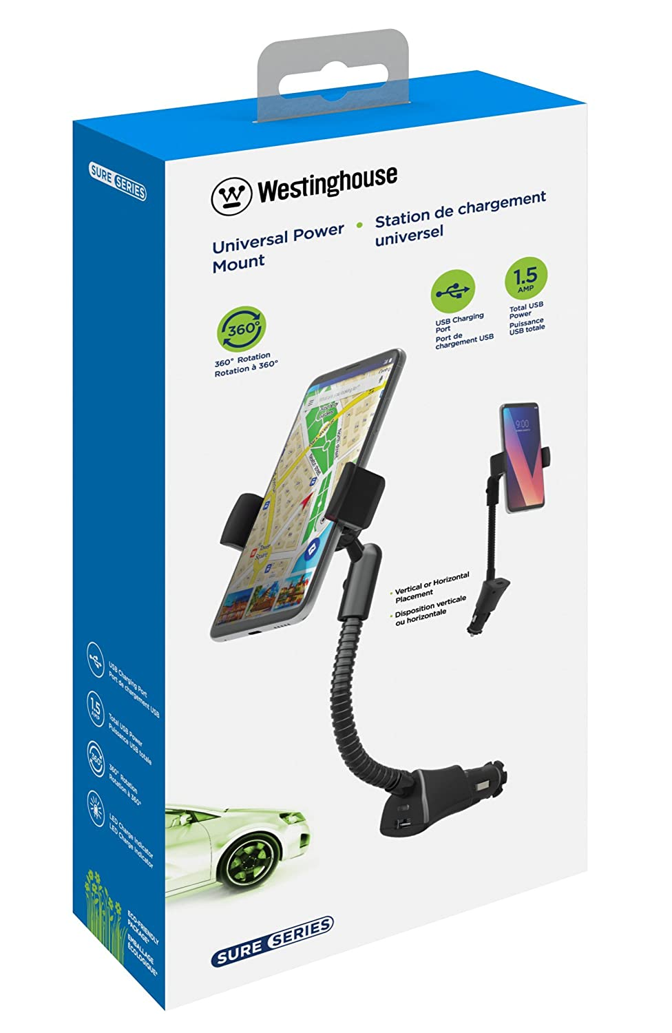 1.5A Westinghouse Universal Smartphone Car Charger Mount with 1 USB Charging Port