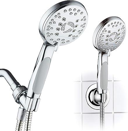 Alcachofa de ducha de mano con alta presion y 5 Modos Incluye manguera flexible de acero inoxidable y soporte GRIS