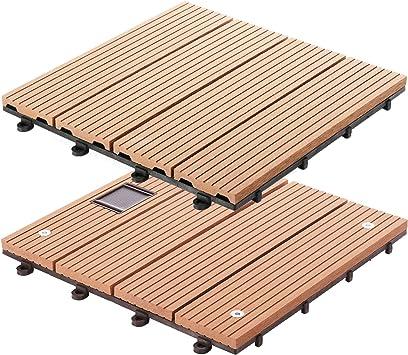 Casa Pura Baldosas de WPC entrelazadas para tarima de patio y jardín, color marrón, marrón: Amazon.es: Bricolaje y herramientas