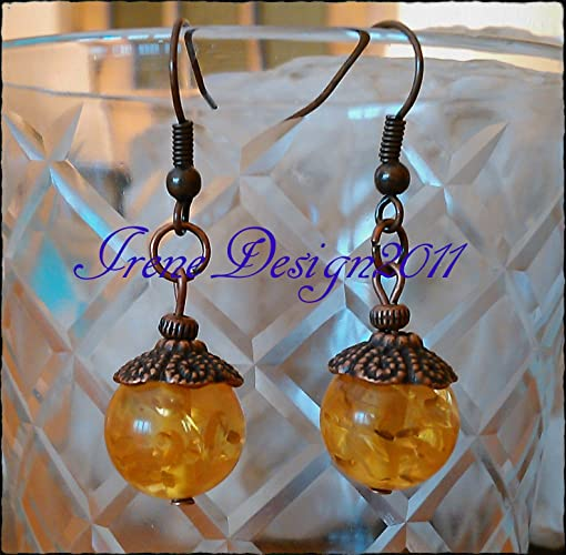 Amber Copper Earrings by IreneDesign2011