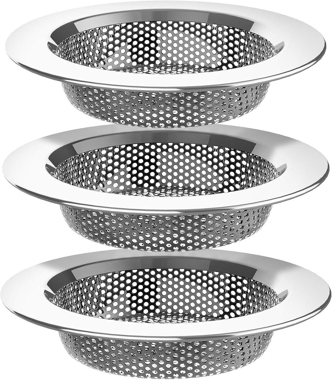 MR.SIGA Kitchen Sink Strainer, Stainless Steel Sink Drain Strainer, Dishwasher Safe, Pack of 3