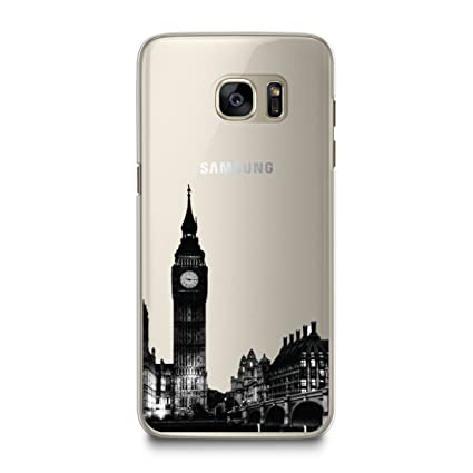 CasesByLorraine Case for Samsung S7, London City View Matte Transparent Case BigBen Clear Plastic Hard Cover for Samsung Galaxy S7 (A14)