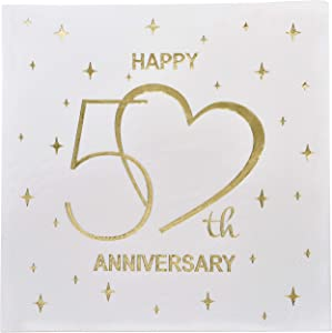 Gift Boutique 100 Count 3 Ply Happy 50th Anniversary Napkins Wedding Party Favor Supplies Decorations White & Gold Foil Luncheon Napkin Heart Designs