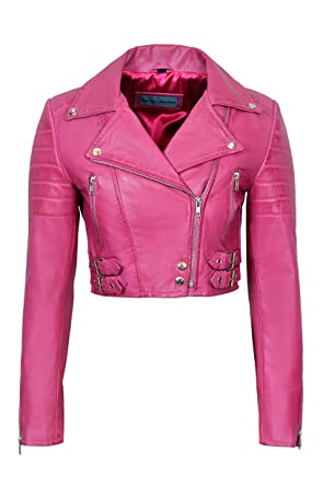 802d5060ca40 Missy Ladies Fitted Short Fashion Pink Goth Biker Soft Napa Leather Jacket  KYLIE (8)