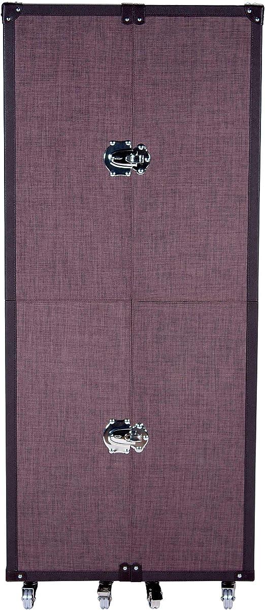 Butlers Hemingway Kofferschrank In Braun 159x66x88 Cm Kleiderschrank Auf Rollen Aus Esche Und Leder Optik