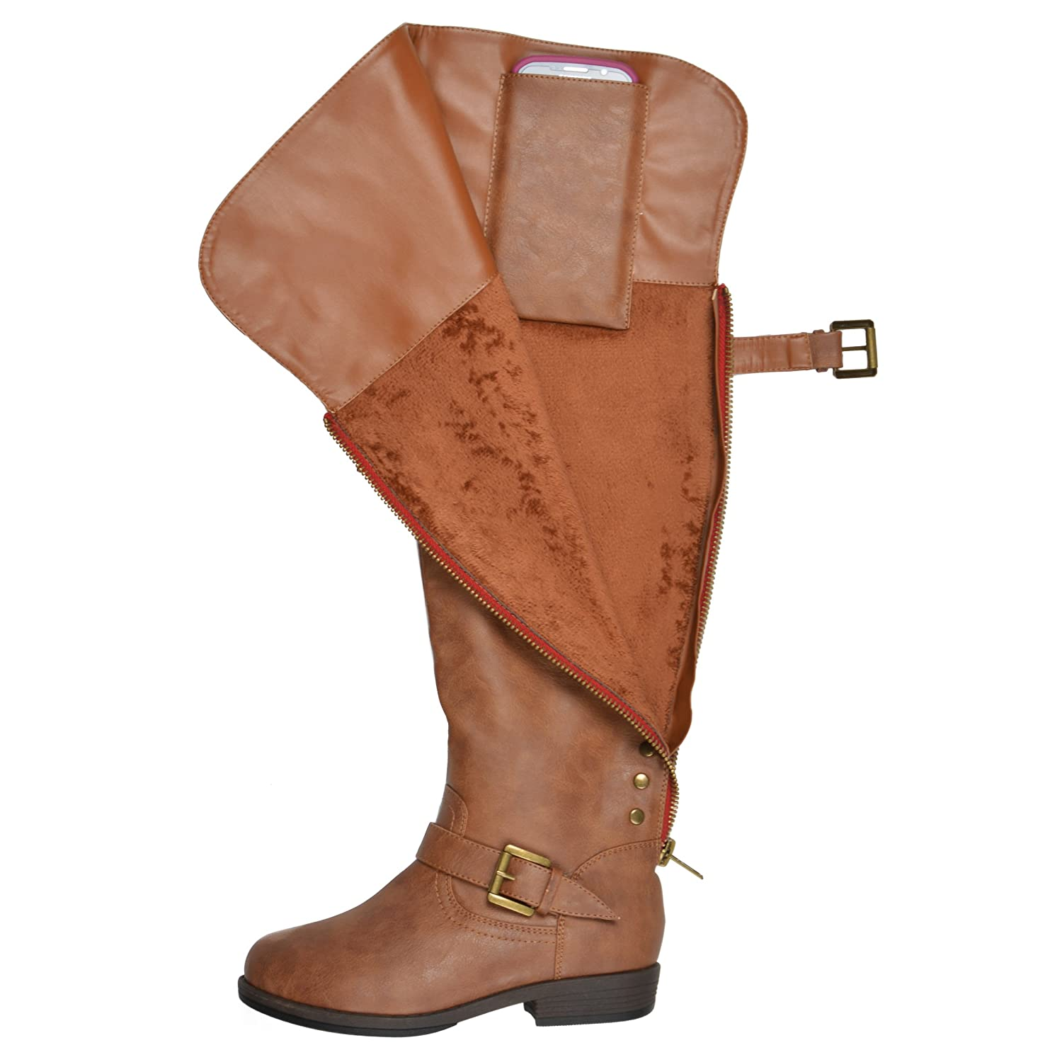 Journee Collection Women's Studded Over-the-knee Inside Pocket Buckle Boots B013X0YJIW 7 W US|Chestnut