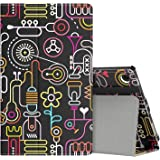 MoKo Case for All-New Amazon Fire HD 8 Tablet (7th Generation, 2017 Release Only) - Slim Folding Stand Cover for Fire HD 8, Creative Sketch (with Auto Wake / Sleep)