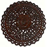 Tropical Bali Wood Carved Wall Art Plaque. Round Wood Wall Decor. Floral Wood  Wall