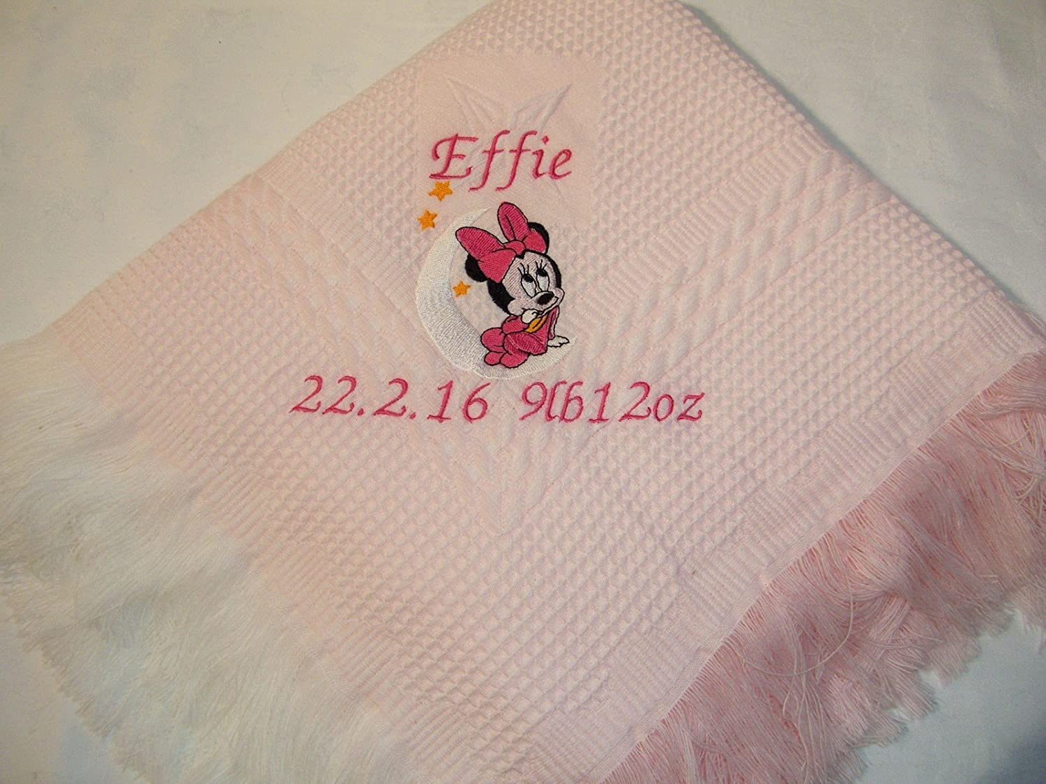 Luxury 100/% Cotton Baby Shawl Blanket Baby Shower Baptism Gift Large Embroidery