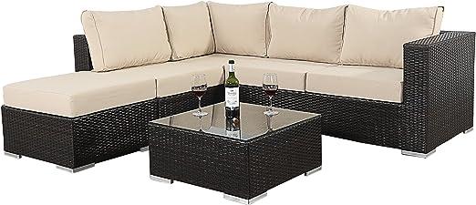 Port Royal Luxe - Juego de sofá esquinero pequeño con Mesa de café y reposapiés, Color marrón: Amazon.es: Jardín