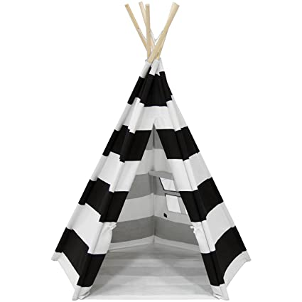 best service 3dba0 0e538 Best Choice Products 6ft Teepee Play Tent Kids Indian Canvas Playhouse  Sleeping Dome w/ Carrying Bag - White/Black