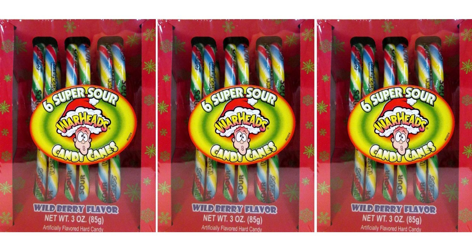 WarHeads Super Sour Candy Canes, (Pack of 3) by Warheads