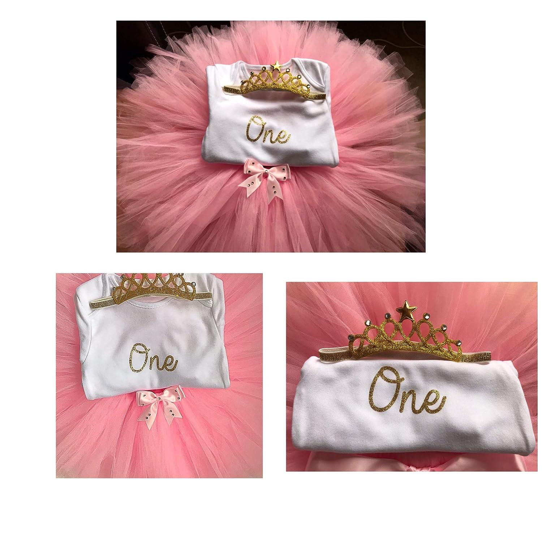 Princess Baby Girls 1st First Birthday Tutu Outfit & Tiara Headboard Cake Smash Set
