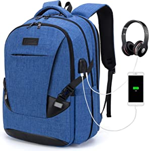 Tzowla Travel Laptop Backpack Waterproof Business Work School College Bag Daypack with USB Charging&Headphone Port for Men Women Boy Girl Student Durable Luggage Backpacks Fit 15.6/17Inch(Blue)