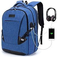 Tzowla Travel Laptop Backpack Water Resistant Business Backpack USB Charging Port Computer Backpack Men Women College School Bag Fit 16 inch Laptops… (PureBlue)