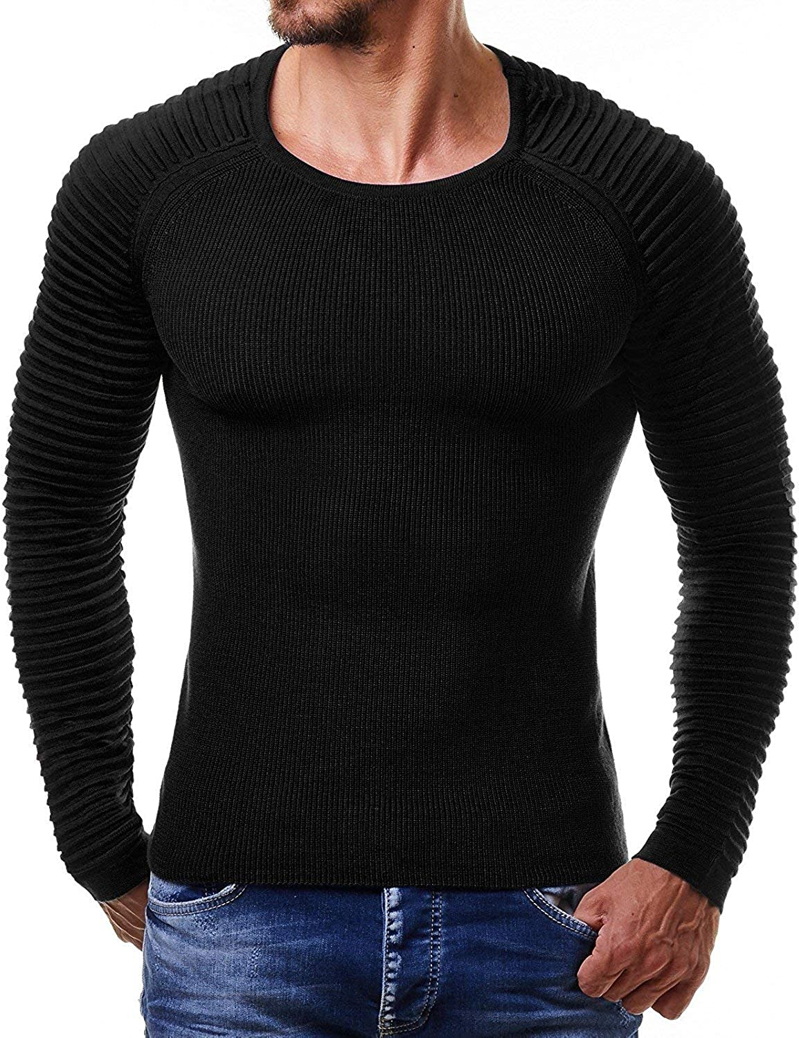 Mens New Cable Knit Jumper Sweater Pullover Long Sleeve Crew Neck Smart Top