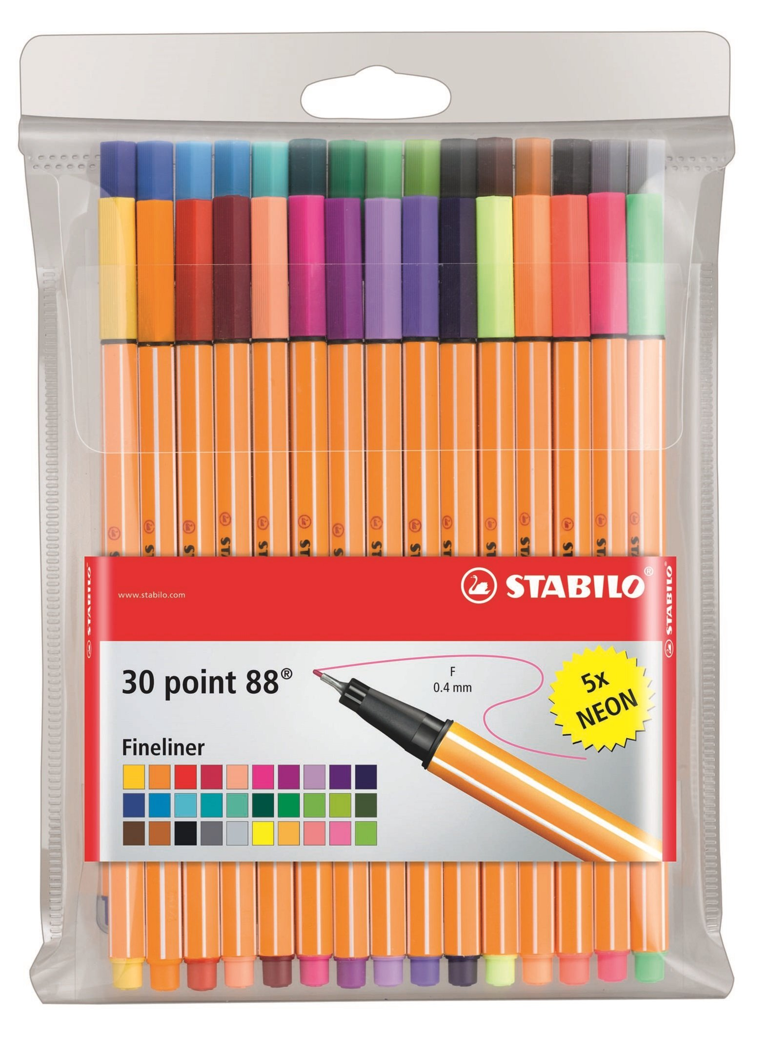 Stabilo Point 88 Fineliner Pens, 0.4 mm - 30-Color Wallet Set