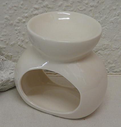 Hornillo quemador de esencias cerámica blanco ovalado