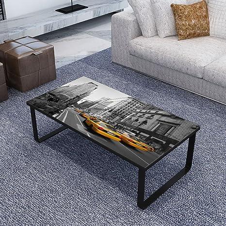 vidaXL Couchtisch Glasplatte Rechteck Beistelltisch Sofatisch Wohnzimmertisch