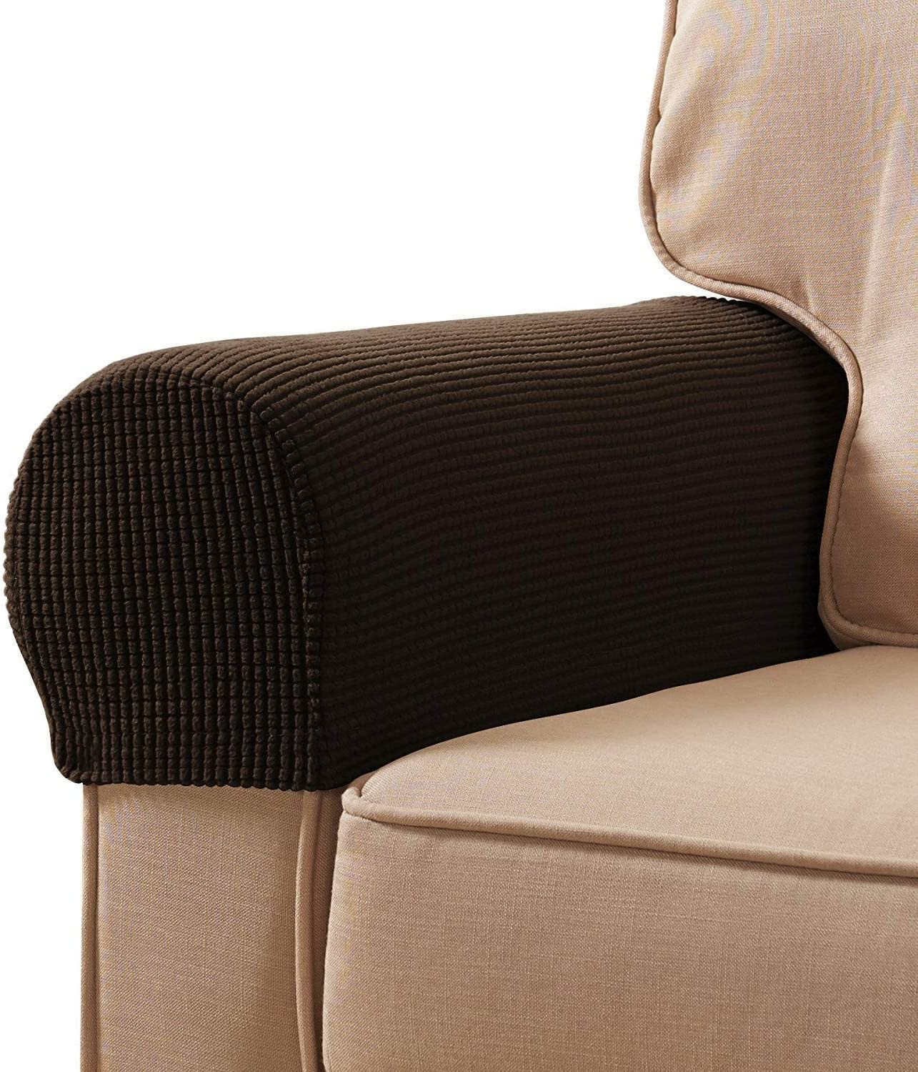Veronica Spandex Stretch Fabric Armrest Covers Furniture Protector Polyester Anti-Stain Washable Sofa Armchair Slipcovers Set of 2 (Chocolate)