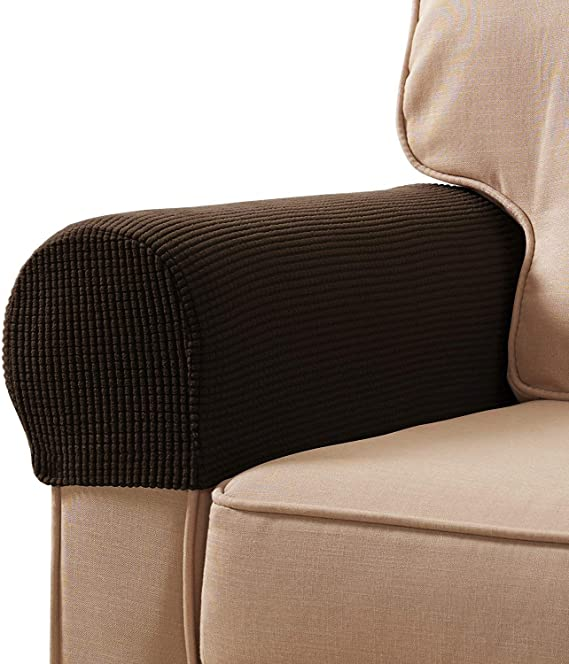 Veronica Spandex Stretch Fabric Armrest Covers Furniture Protector Polyester Anti Stain Washable Sofa Armchair Slipcovers Set Of 2 Chocolate Kitchen Dining