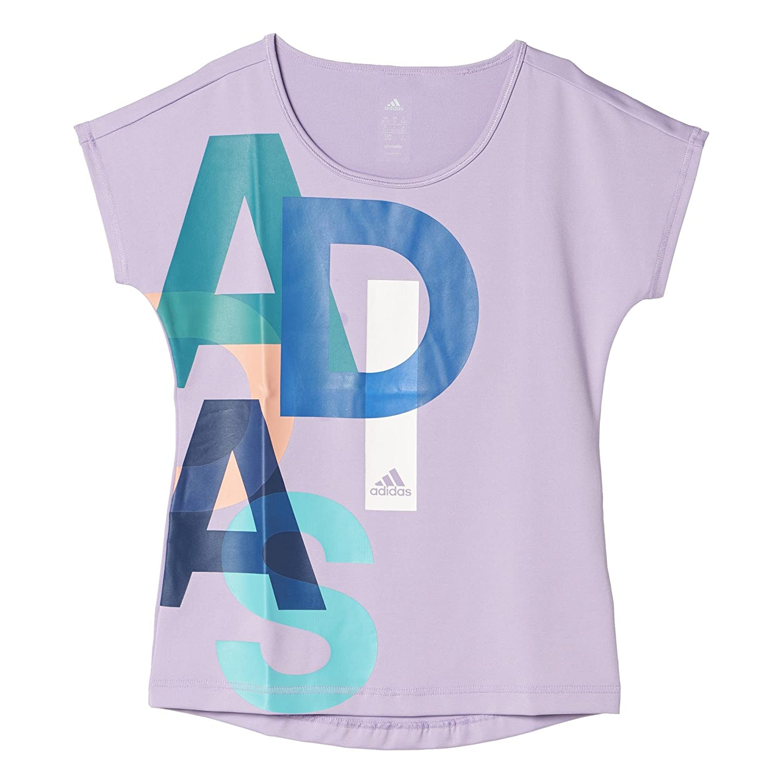 adidas YG W F Logo tee - Camiseta para niñas, Color Blanco/Azul ...