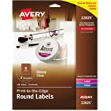 "Avery Easy Peel Print-to-the-Edge Glossy Clear Round Labels, 2"" Diameter, Pack of 120 (22825)"