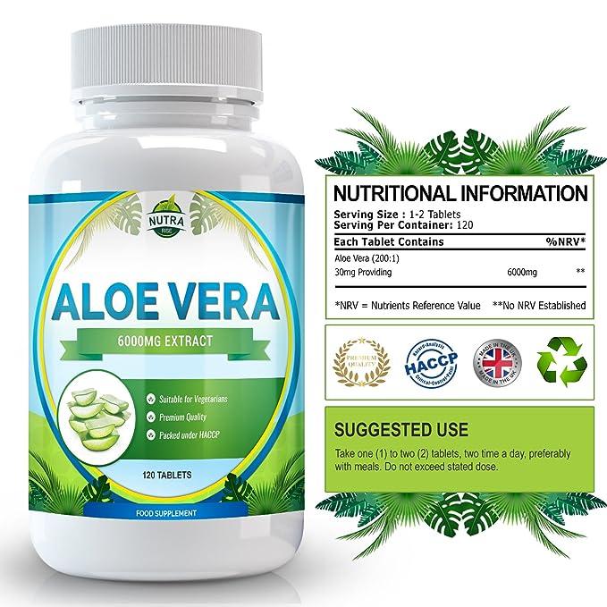 Aloe Vera, suplemento de concentración máxima para adelgazar. Limpia el tracto intestinal y elimina toxinas. Cura e hidrata la piel, 6000mg - 120 ...
