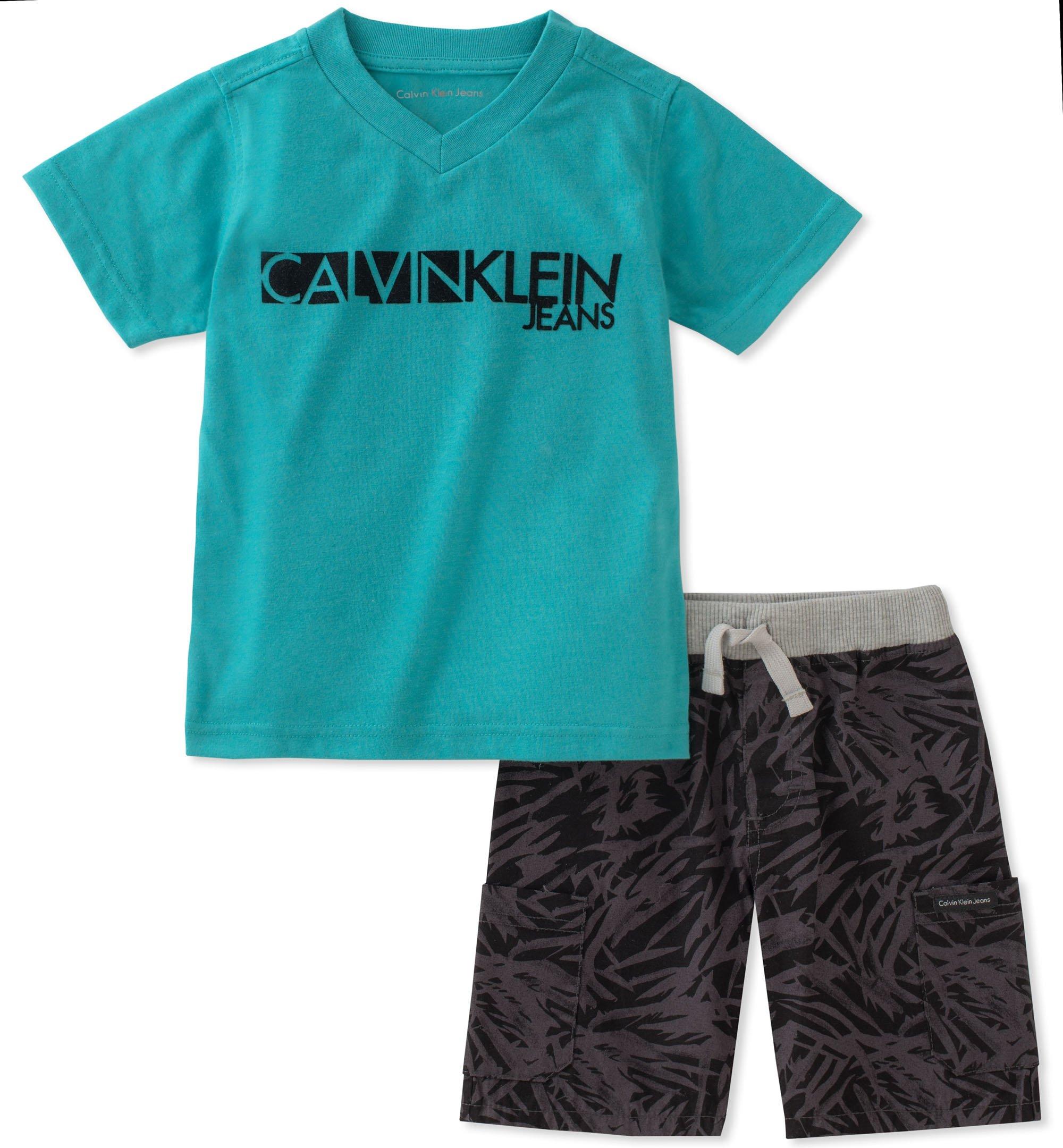 Calvin Klein Boys' Little 2 Pieces Shorts Set, Green 7