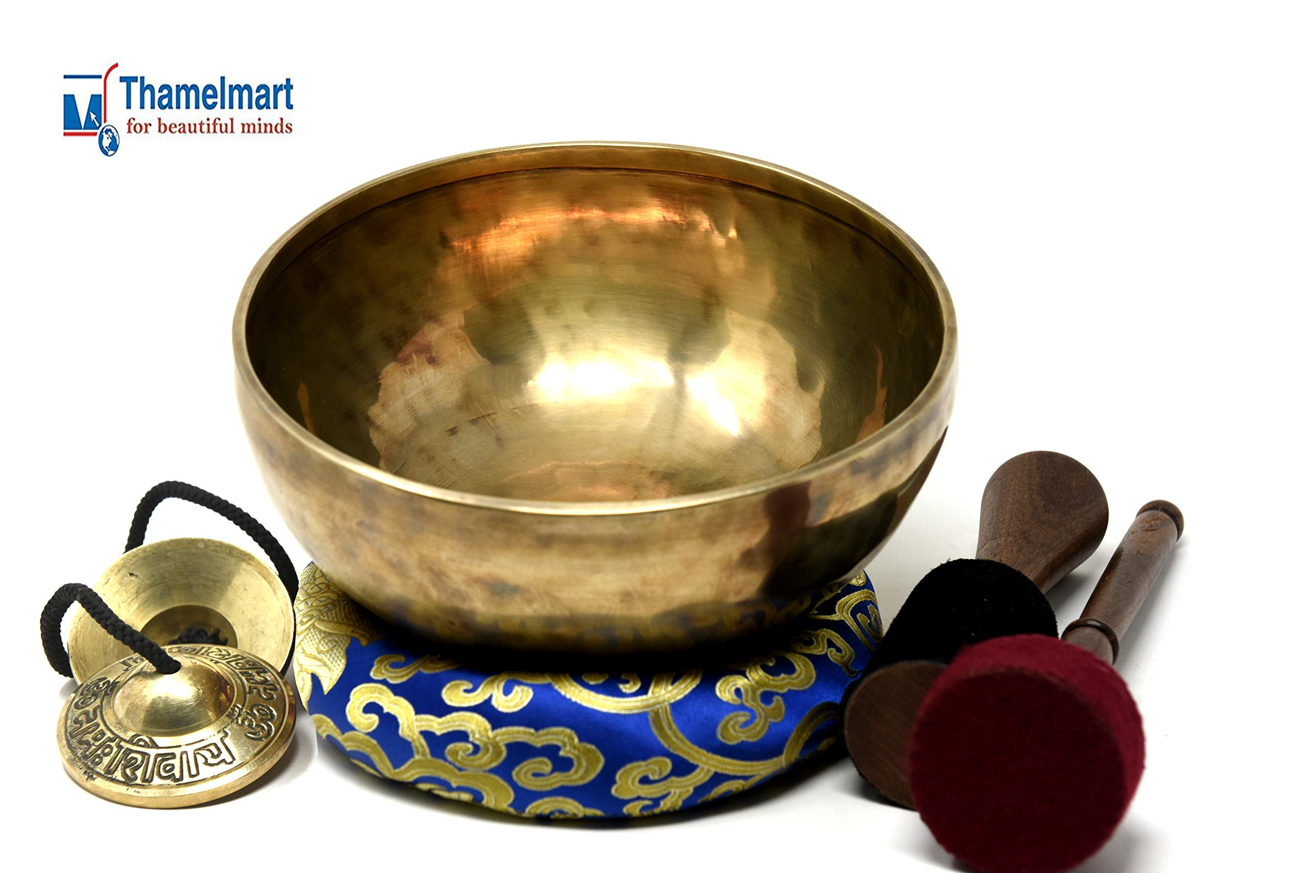 8.5'' Root Chara HandHammered Meditation Singing Bowl ~Antique Finished for Relaxation,Sound Bath,Healing,Therapy & Mindfulness~ included Tingsha cymbals Mallet,Silk Cushion,DrumStick~Handmade in Nepal by TM THAMELMART FOR BEAUTIFUL MINDS