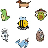 RipDesigns - 7 Pins for Kids | Enamel Pins for Backpacks Cute Pins for Jackets Enamel Pin Set for Bookbags Dinosaur Lapel Pin & Other Animal Enamel Pins Included (Set 8)